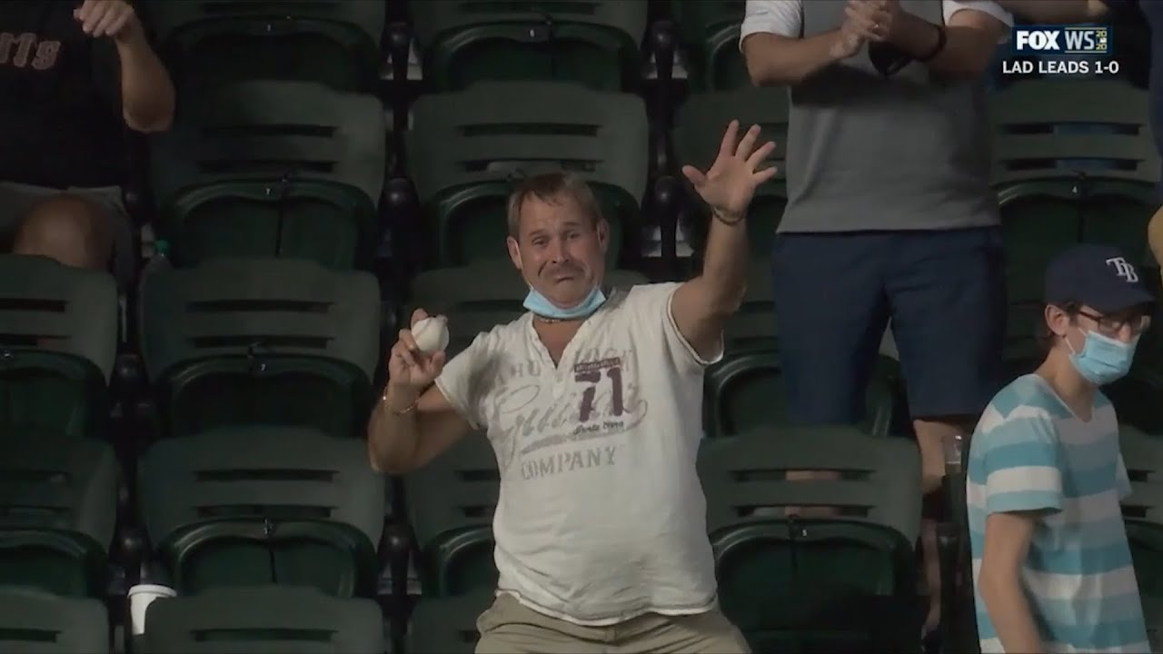Fan catches home run ball then throws his glove onto the field, a breakdown