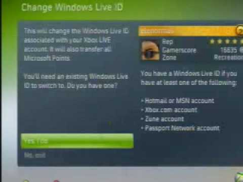 changing windows live ID on xbox 360