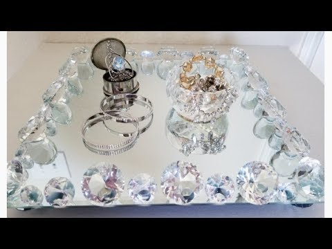 CRYSTAL AND MIRROR VANITY TRAY | HOME GOODS INSPIRED 2018
