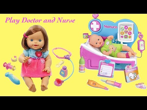 Baby has a fever and a sore leg and Need Doctor Check Up ! Little Girl Nurse Baby Born Doctor