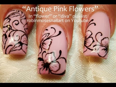 Easy Pink Flower With Black Filigree Nail Art Design Tutorial   Long Nails