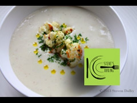 Creamy Cauliflower Soup with Caramelized Cauliflower (Stevescooking)