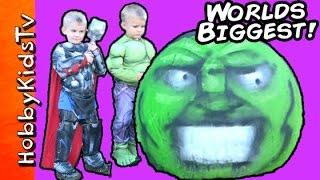 Giant Hulk Smash Egg! Surprise TOYS HobbyKidsTV