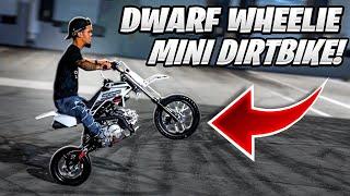 TEACHING DWARF HOW TO WHEELIE A MINI DIRTBIKE ! | BRAAP VLOGS