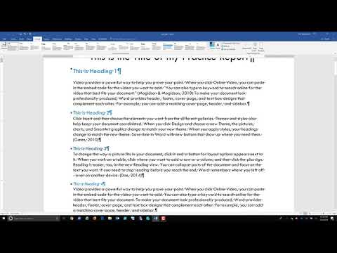 Using Word Heading Styles to Create a Document Map and Table of Contents Part 2