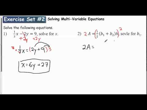 Lesson 1 1   Exercise Set #2 Solving Multi Variable Equations