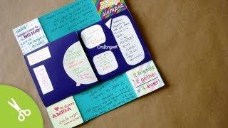 DESCARGA GRÁFICOS Y PAPEL • http://bit.ly/19cJbuz ¿Hacemos una Bola Scrapbook? • http://bit.ly/1zkej5L ▶ COMPRA LOS MATERIALES: http://www.holadiy.com  Ya casi cumples mes con tu novio o novia y no sabes que darle? Pues bueno, en este tutorial te enseño como hacer una practica, linda, facil y original carta magica también conocida como carta interminable, espero te guste!   [english: Video tutorial on how to do the never ending card. Download the graphics and deco paper used in the video: http://bit.ly/WMnK6y ]  SUSCRIBETE http://bit.ly/PonteCrafty  -------  ♥ TIENDA http://www.holadiy.com  • SNAPCHAT craftingeekliz • FACEBOOK: http://www.facebook.com/craftingeek • TWITTER: http://www.twitter.com/craftingeek • INSTAGRAM http://instagram.com/craftingeek • PINTEREST http://http://bit.ly/CGurlP  -------  Música:   Kevin Macleod | www.incompetech.com