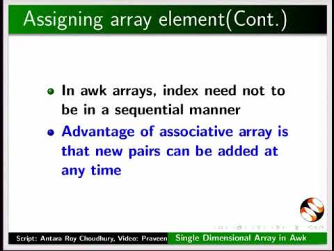 Basics of Single Dimensional Array in awk - English
