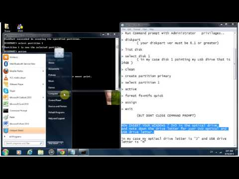 Bootable windows7 usb for MBR partition with CMD