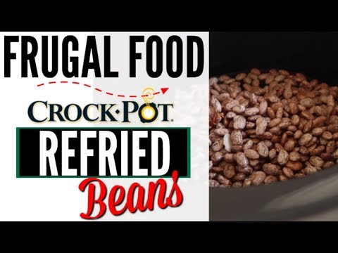 HOW TO MAKE REFRIED BEANS ●  99 CENT STORE CROCK POT REFRIED BEANS RECIPE ● VEGAN RECIPE