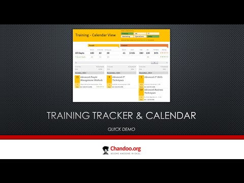 Training tracker and calendar in Excel - Quick Demo