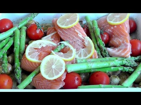 Roasted vegetables with salmon simple healthy food recipe