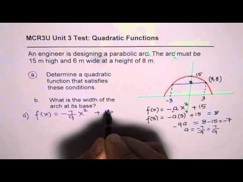Quadratic Equation For Parabolic Arch With Maximum Height and Width