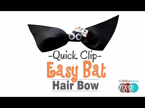 Quick Clip - How to Make an Easy Bat Hair Bow - TheRibbonRetreat.com