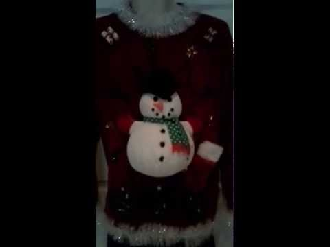Ugly Christmas Sweater Puffy Snowman Lights Up!