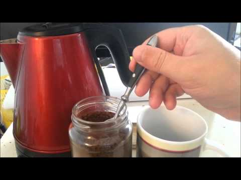 Making instant coffee.