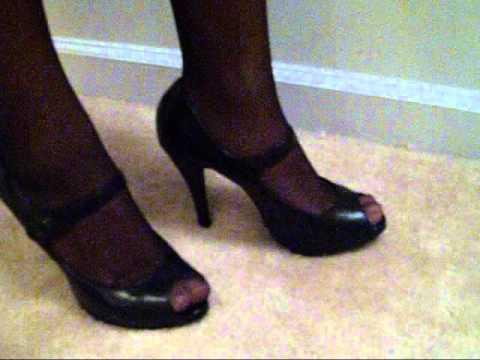 Sandal heels and pantyhose