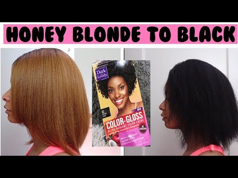Dying My Hair from Honey Blonde to Black | Dark & Lovely Color Gloss| My Hair is Damaged!!!