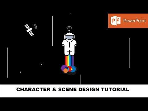 Rainbow Rocket Man Character Design Video | PowerPoint 2016 Drawing Tools Tutorial