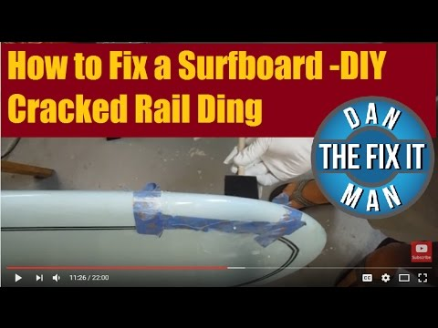 How to Fix a Surfboard - Cracked Rail Ding with Color Match