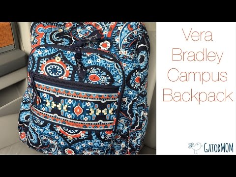 Vera Bradley Campus Backpack packed as a diaper bag!