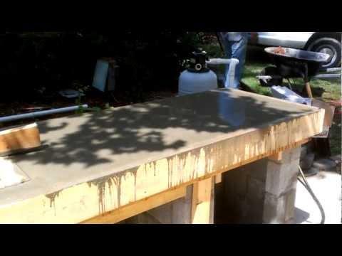 Outdoor kitchen construction, concrete counter form
