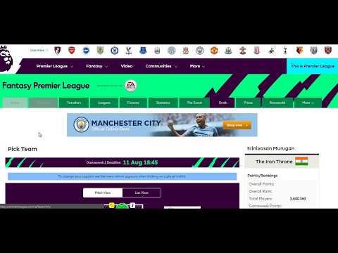 Fantasy Premier League - how to change team name