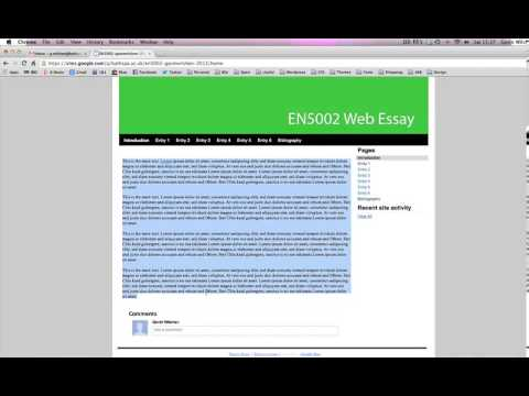 Setting-up and sharing your Web-based Essay in Google Sites