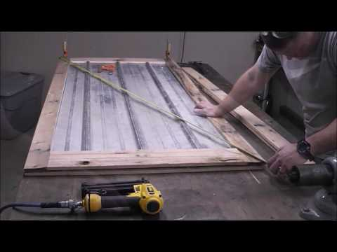 Building a Reclaimed Wood Door from Pallet Wood and Metal for the shop!!