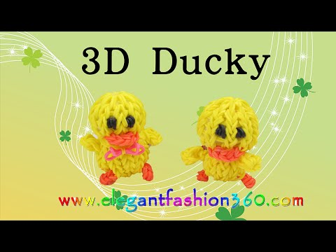 Rainbow Loom 3D Duck/Ducky/Chick charms - How to Loom Bands tutorial by Elegant Fashion 360