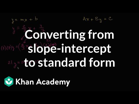 Converting from slope-intercept to standard form | Algebra I | Khan Academy