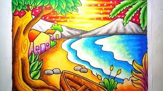 Gambar Pemandangan Air Terjun Dengan Crayon Gambar Pemandangan