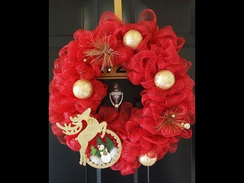 Deco Mesh Wreath DIY |  Christmas Wreath | Dollar Tree - beginner friendly