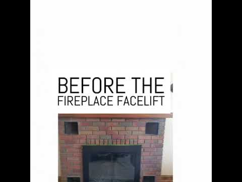 Fireplace Facelift by Staining the Brick & Mortar