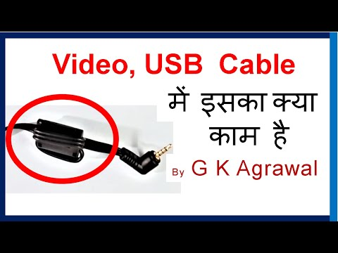 Ferrite bead on the HDMI, video, USB cable, in Hindi