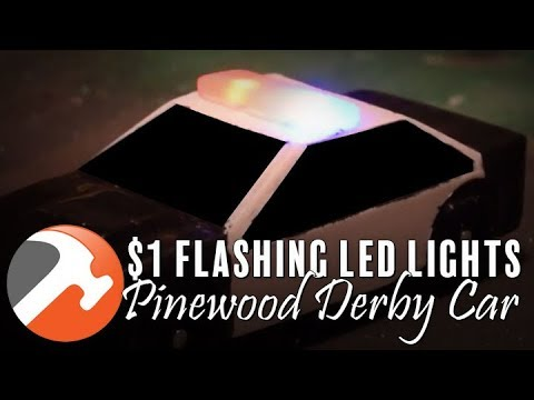 PINEWOOD DERBY POLICE CAR + $1 FLASHING LED LIGHTS & GOPRO ON-TRACK VIDEO CAR