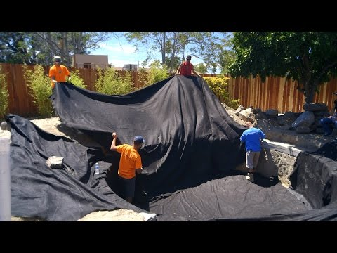 Koi Pond Construction | Pond Liner Preparation - Part 24
