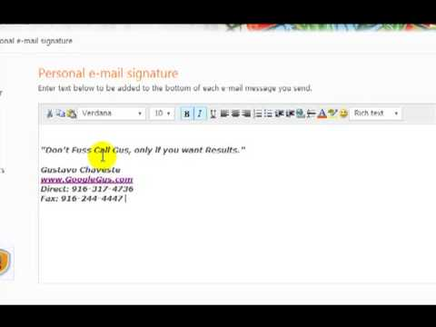 How to customize signature for Hotmail