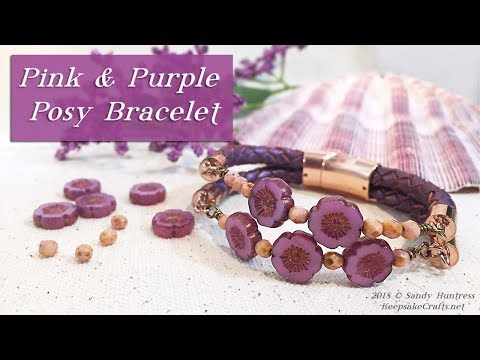 Purple & Pink Posy Bracelet-Flower Beads and Leather Jewelry Tutorial