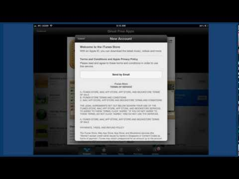 Create an iTunes account on your iPad (no credit card)