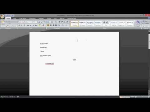 Microsoft Word: How to Set Up MLA Format 2013