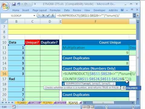 Excel Magic Trick # 272: Count Unique Or Duplicate Records