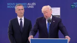 full president donald trump speech nato unveiling of the article 5 berlin wall memorials 2017 trump