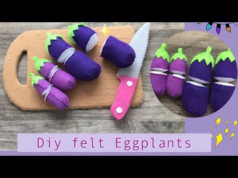 Diy Felt food series # No.3 felt Eggplant tutorials
