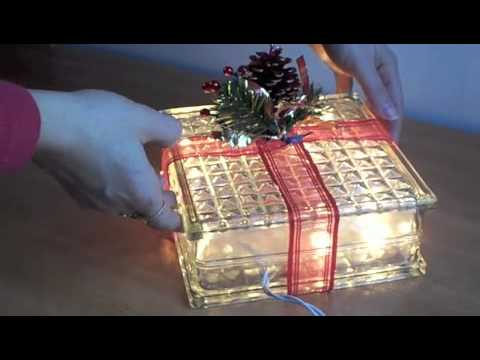 Lighted Holiday Glass Block
