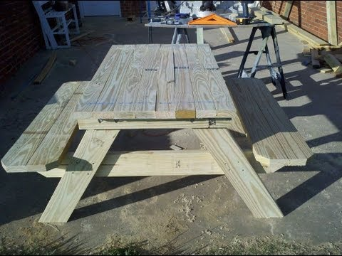 How to build a 4 foot picnic table with an umbrella holder. Part 1.