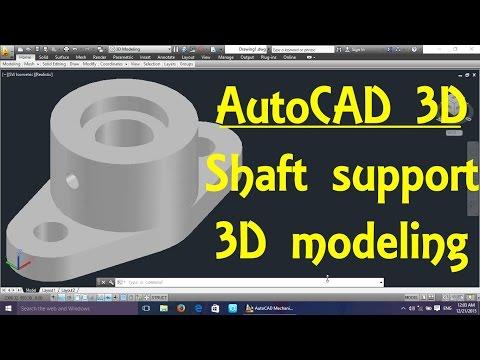 Shaft support AutoCAD 3D modeling tutorial   AutoCAD 3D Modeling 13
