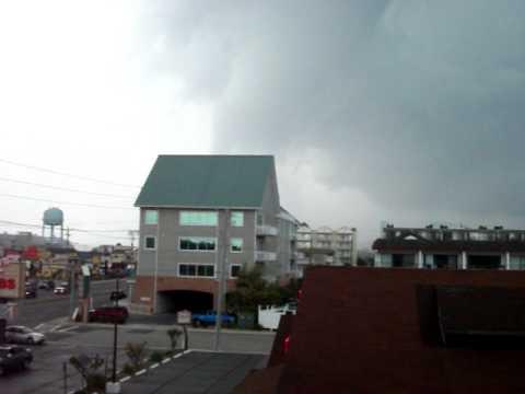 Ocean City Tornado/Funnel Cloud/Water Spout as it crosses Coastal Highway 9 15 2011