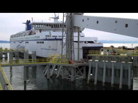 Ferry Nears the Dock at Vancouver Tsawwassen Terminal, BC, Canada