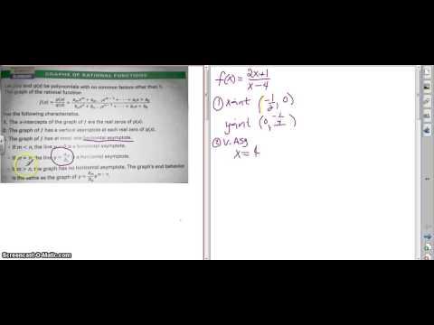 Alg 2  rational function graph - numerator same as denominator